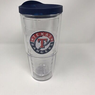 98695a8fbd5 Tervis Tumbler MLB Texas Rangers 24 oz Insulated Cup Glass With Blue Lid NEW