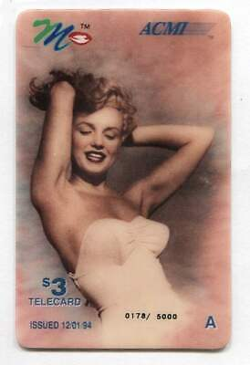 1994 Marilyn Monroe $3.00 Phone Calling Card ACMI Telecard - Issue of 5,000