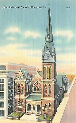 Allentown Pennsylvania~Zion Reformed Church~1940s Linen Postcard