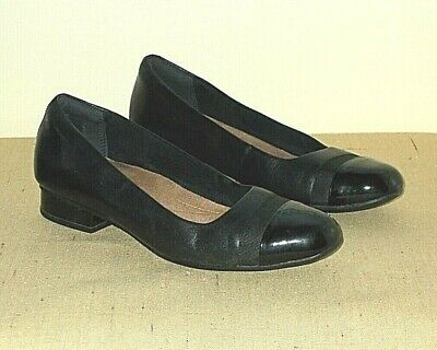 e6a662f1b6 Clarks Artisan* Ladies Black Leather Court Shoes with Patent Trim - UK Size  5 D