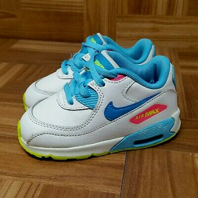 78ee5bc537114 Nike Air Max 90 TD (Toddler Girl s Size 7C) Sneaker Shoes White Blue Pink