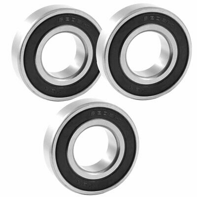 6205RS 52mm x 25mm x 15mm Black Rubber Sealed Deep Groove Ball Bearing 3 Pcs