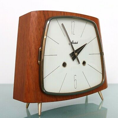 HAID HERMLE Vintage Mantel TOP Clock From 1963 SPECIAL DIAL 3 Bar Chime! Germany
