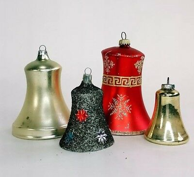Vtg 4 Mercury Glass Red Gold Hand Decorated Christmas Bell Ornament West Germany