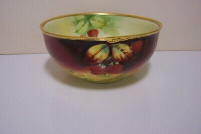 Early 1900's bowl strawberrys Jul H Brauer Hand Painted Bavaria Fine Cond