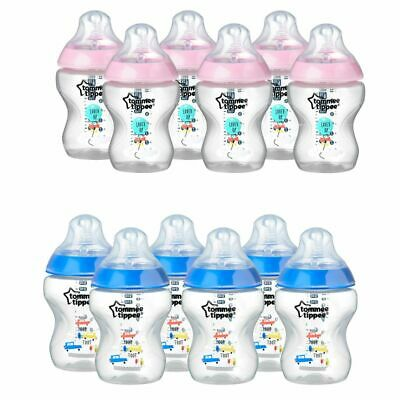 Tommee Tippee Closer to Nature Baby Newborn Decorated Bottle Pink Sky 260ml 6Pk