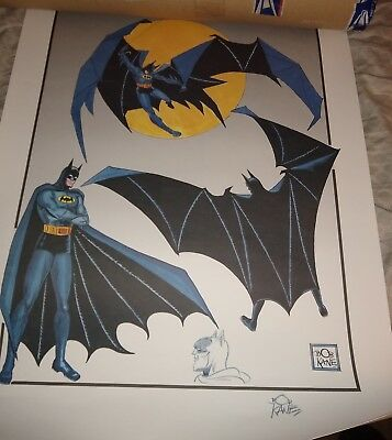 BATMAN LITHOGRAPH Limited Edition Signed by Bob Kane and original art sketch