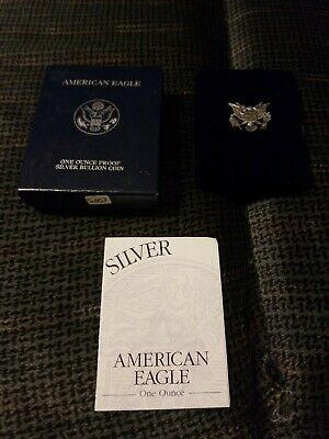 2002-W Proof American Silver Eagle One Oz Silver Dollar with Box and COA