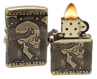 Zippo 29268 Antique Brass Finish Multi Cut Engraving Armor Windproof Lighter New
