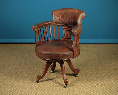 Antique Edwardian Revolving Desk Chair c.1905.