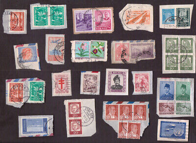 Great Britain and Worldwide stamps early to modern used on pieces - 249 stamps