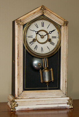 """Vintage Antique (c 1876?) ANSONIA """"Pansy"""" Mantel Table Shelf Clock: WORKS GREAT!"""