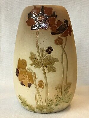 c1905 ROZANE WARE WOODLAND VASE ~ ROSEVILLE POTTERY EARLY ~ CALIFORNIA POPPIES