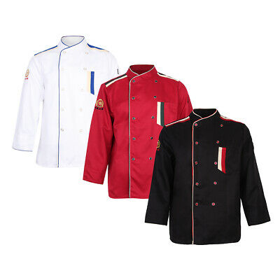 Restaurant Hotel Unisex Chef Long Sleeve Coat Jacket Uniform Cook Waiter