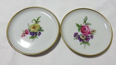2 Small Vintage Kaiser West Germany Handpainted Flowers Porcelain Dishes