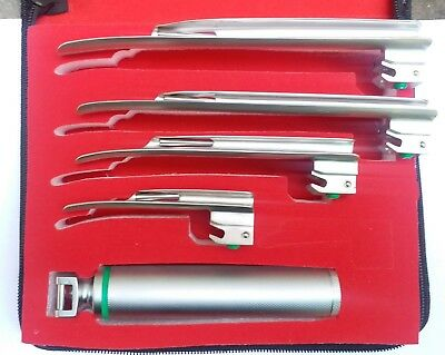 Fiber Optic Miller Laryngoscope Set, Bright and Whitest LED illumination,