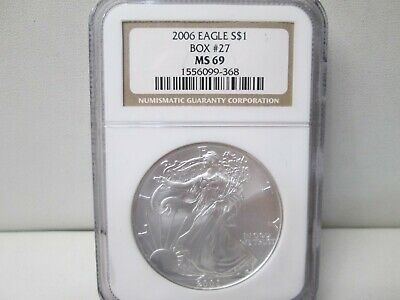 2006 American Eagle Silver 1 Ounce Dollar NGC MS 69 Box #27