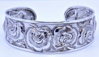 """7"""" 925 Sterling Silver Wide Floral Rose Flower Repousse 1"""" Cuff Bracelet DS Thai"""
