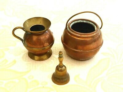 Brass And Copper Miniature Jug, Cooking Pot And Hand Bell   1400947/950