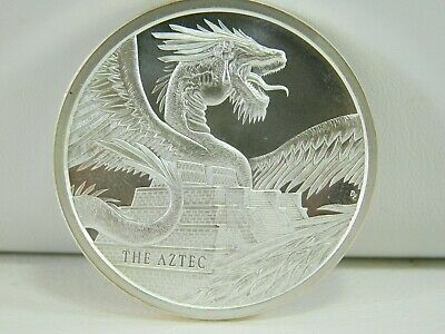 The Aztec One Troy Ounce World of Dragon Silver Round Coin AH0150