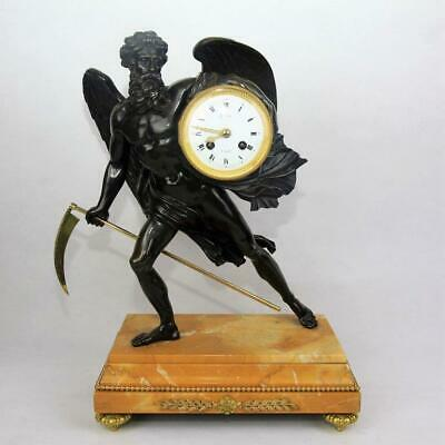 "Antique French mantel clock patinated bronze figural mantle ""chronos"""