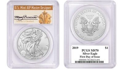 2019 $1 1oz Silver Eagle MS70 PCGS First Day Of Issue Thomas Cleveland