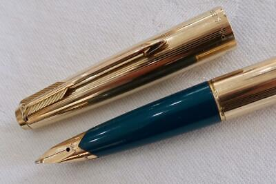 Parker 65 Insignia Fountain Pen, Rolled Gold & Turquoise C1978 Fully Serviced