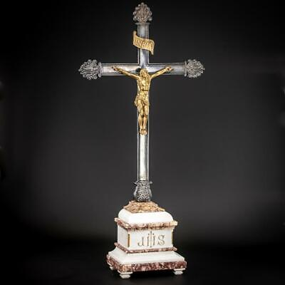 Altar Crucifix | Standing Cross | Jesus Christ French Bronze | Marble Base | 31""