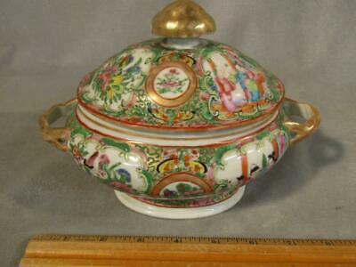 """Antique 8"""" Chinese Export Rose Medallion Covered Small Tureen / Bowl"""