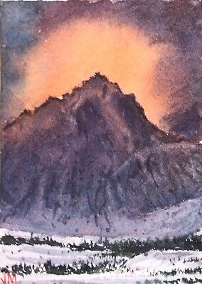 "ACEO Original Watercolor Painting art 2.1/2"" x 3.1/2    Mountain Landscape"