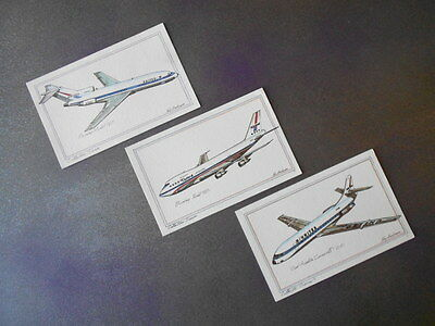 Vintage 1970's Roy Andersen Collectors Series Airplane Postcards lot of 3 Jets
