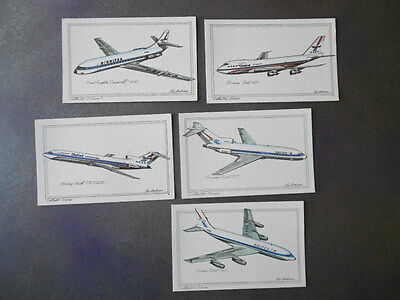 Vintage 1970's Roy Andersen Collectors Series Airplane Postcards lot of 5 Jets