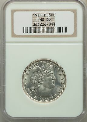 1911-D US Silver 50C Barber Half Dollar - NGC MS65