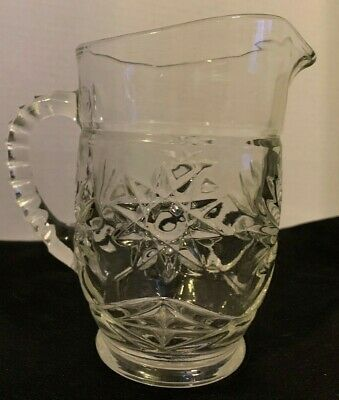 Discontinued 1960's Clear Press Cut Glass Water Pitcher