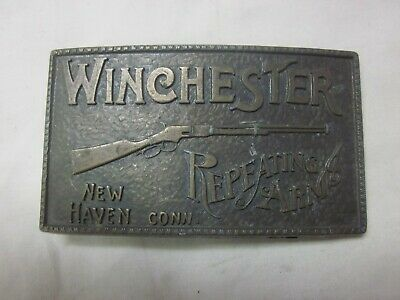 Winchester Repeating Arms Belt Buckle 1970s New Haven Conn BRASS