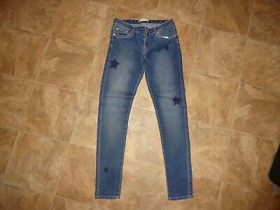 Girls Levis 710 Super Skinny Stretchy Jeans With Stars Size 14 Reg