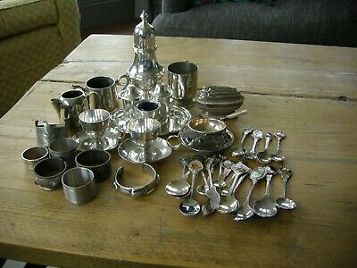 Job lot vintage silver plated items, small quality items, napkin rings, jug bowl