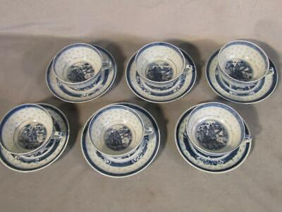 Set 6 Antique Chinese Export Rice Pattern Porcelain Cups & Saucers - Temples
