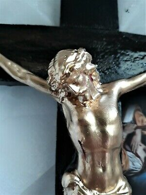Catholic Crucifix  Wall Hanging Home Decor Gold TONE Christ our King