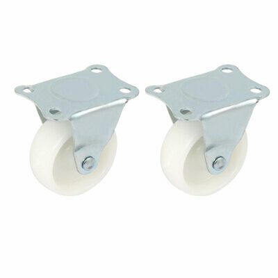 "Furniture Rectangle Fixed Metal Top Plate 2"" Diameter Caster Wheel White 2pcs"