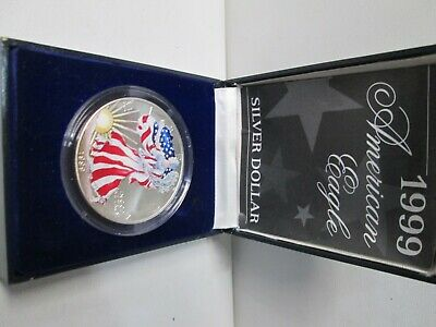 1999 Colored Painted American Eagle 1 Ounce Silver Dollar with Box & Coa