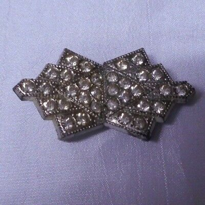 Vintage Pave Rhinestone Art Deco Silver Metal Dress Belt Buckle Clip Two Piece