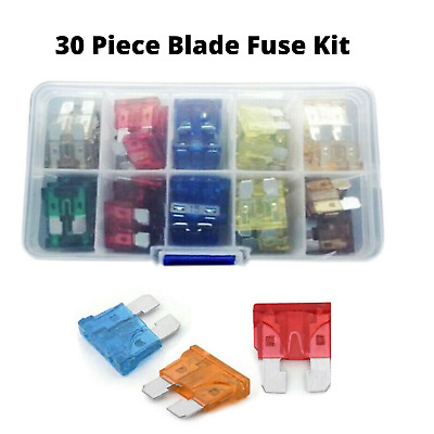 30Pcs Med STD Blade Fuses in Handy Travel Box (6 sizes) Motorbike and Camper
