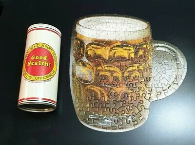 Vintage Double Sided Jigsaw Puzzle Pint of Beer and Empty Pint Glass 120 Piece