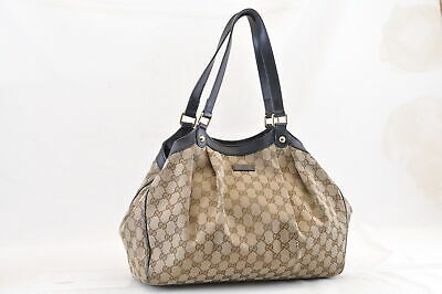 caeb1874011 GUCCI GG CANVAS Tote Bag Brown Auth yy582 -  102.00