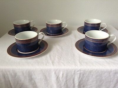 Coventry Fine Porcelain Tea Cups Saucers Set Of 5 Made In Indonesia Blue