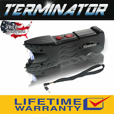 Terminator Max Power Police Stun Gun Safety Pin Blinding Flashlight