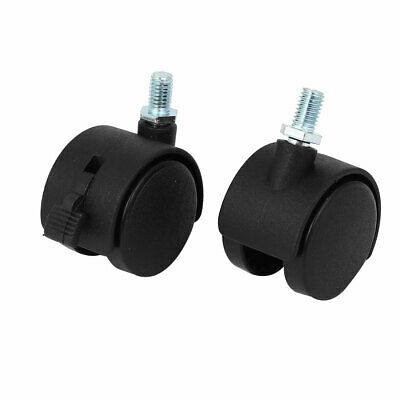 38mm Wheel Dia Plastic 360 Degree Ratation Trolley Brake Stem Caster Wheels 2PCS