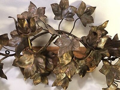 Vintage Gilt GLD Metal Candle Wall Sconce Candle Holder/Tapers