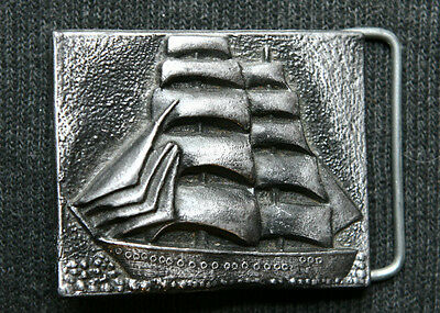 Beautiful Vintage Pewter Made Sailboat Belt Buckle,  Made in U.S.A
